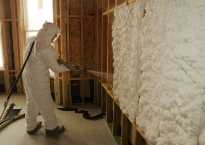 Spraying foam insulation